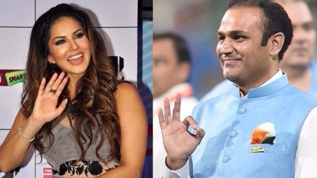 हैदराबाद और दिल्ली के बिच मैच के दौरान मिले वीरेंद्र सहवाग और सनी लियोन, प्रसंशको ने बनाया मजाक