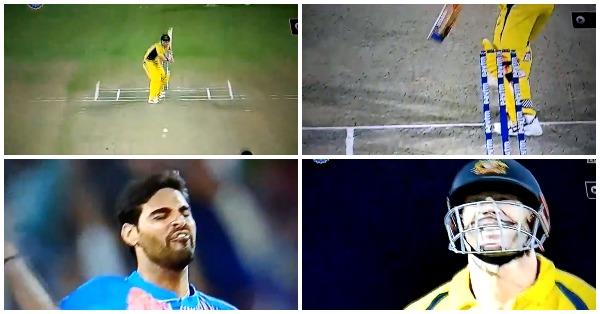 VIDEO: 0.4वें ओवर में भुवनेश्वर कुमार की स्विंग के फेर में फंसे ऑस्ट्रेलियाई कप्तान