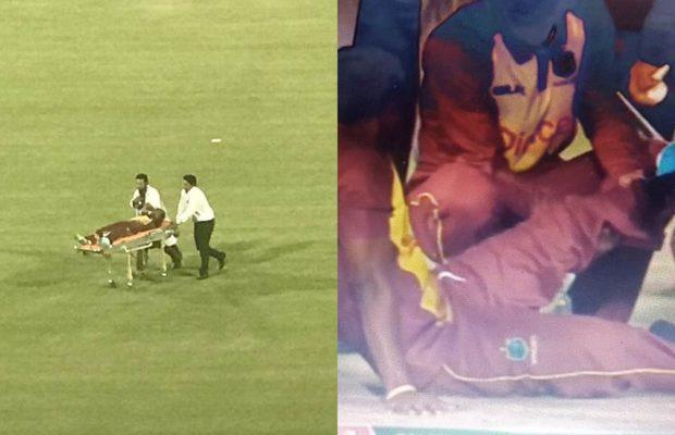 अपना पहला टी-20 खेल रहे वेस्टइंडीज के इस गेंदबाज के साथ हुआ दर्दनाक हादसा, स्ट्रेचर से ले जाया गया मैदान से बाहर