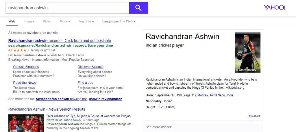 याहू के सर्च इंजन में दिखी बड़ी गड़बड़ी रविचन्द्र अश्विन को सर्च करने पर दिखाती है इस विदेशी खिलाड़ी की तस्वीर 1