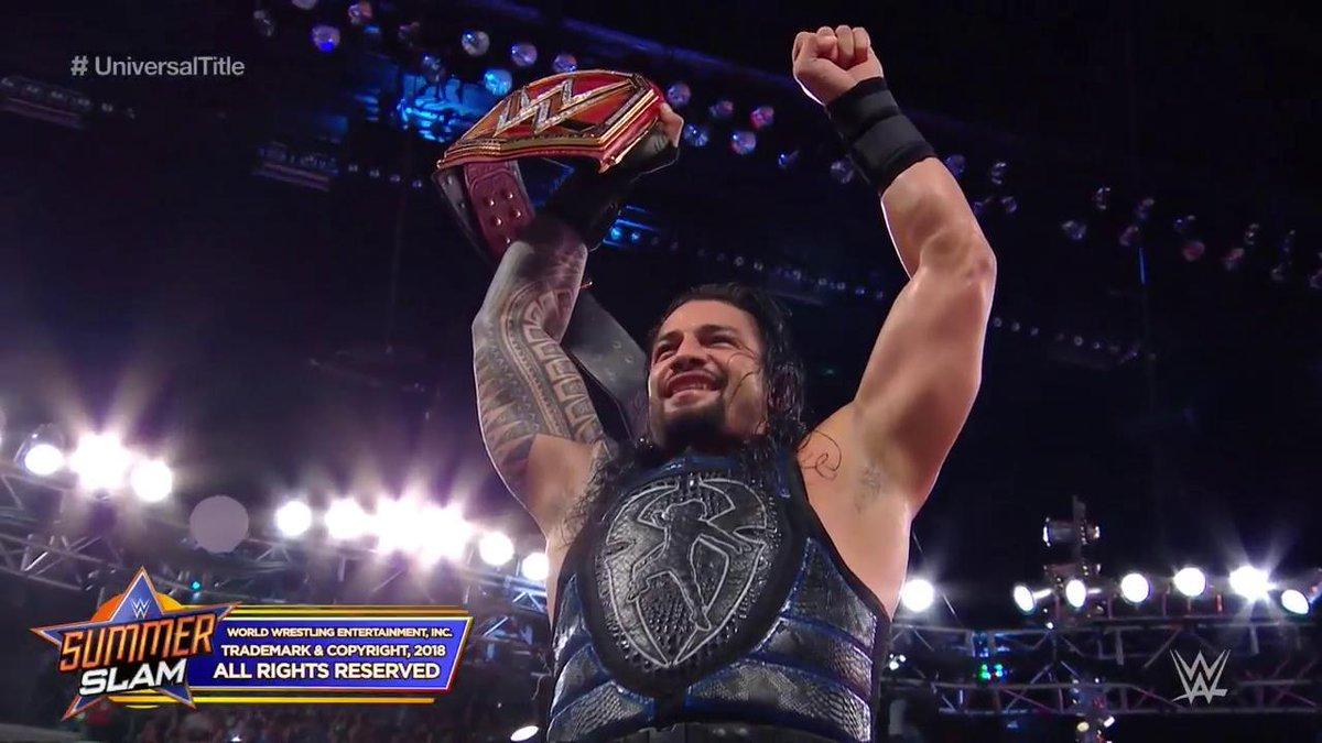SUMMER SLAM: युनिवर्सल चैम्पियन: ब्रोन स्ट्रोमन की मदद से ब्रोक लेसनर को हरा रोमन रेन्स बने नये WWE युनिवर्सल चैम्पियन 6