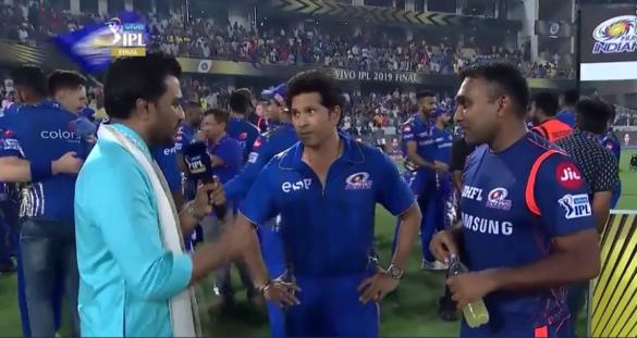 मुंबई इंडियंस के जीत के बाद सचिन तेंदुलकर-महेला जयवर्धने ने ऐसे व्यक्त की खुशी 30