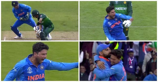 WORLD CUP 2019: 23.6 ओवर में कुलदीप यादव की गेंद पर चकमा खा बैठे बाबर आजम, पूरे स्टेडियम ने मनाया विकेट का जश्न