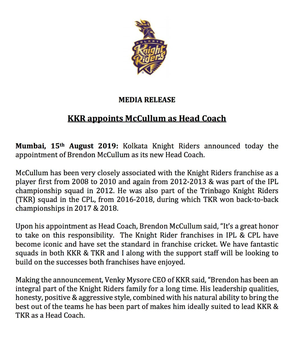 कोलकाता नाइट राइडर्स ने ब्रेंडन मैकुलम को बनाया अपनी टीम का हेड कोच 1