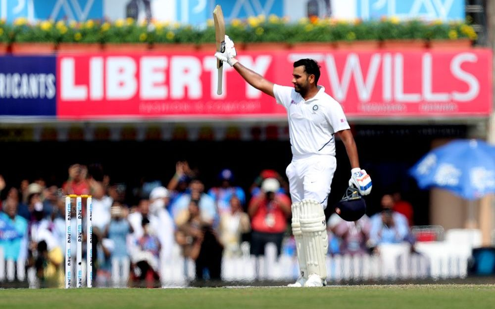 Rohit Sharma celebrates scoring a double century in the 3rd Test in Ranchi