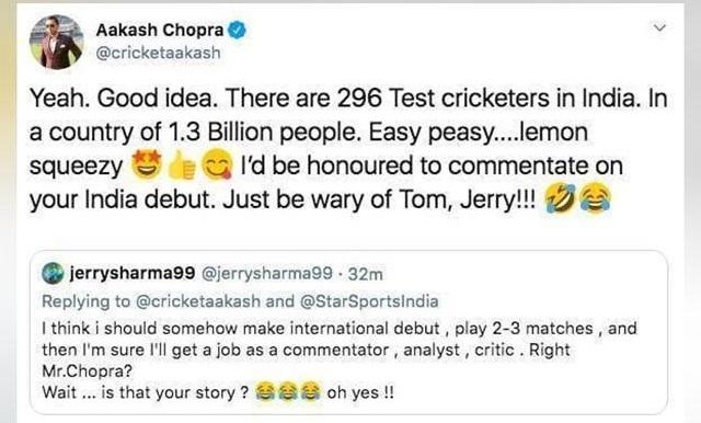आकाश चोपड़ा को ट्रोल करने की हुई कोशिश, चोपड़ा ने वापस दिया करारा जवाब 1