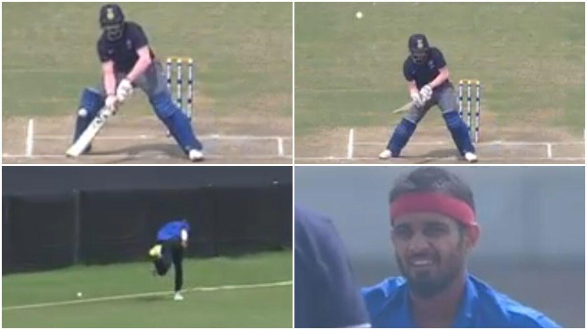 कृष्णप्पा गौतम ने थर्ड मैन पर स्कूप से जड़ा छक्का, गेंदबाज को नहीं हुआ विश्वास