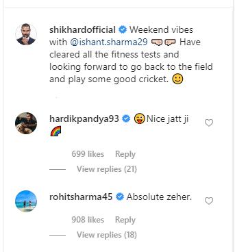 शिखर धवन ने किया पोस्ट तो रोहित शर्मा ने उड़ाया मजाक, हार्दिक पंड्या ने भी दिया साथ 2