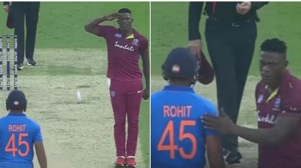 IND vs WI- रोहित शर्मा को आउट करने के बाद शेल्डन कॉट्रेल ने हिटमैन के सम्मान में किया कुछ ऐसा 13