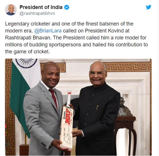 वेस्टइंडीज के महान क्रिकेटर रहे ब्रायन लारा ने की भारत के राष्ट्रपति रामनाथ कोविंद के साथ मुलाकात 2