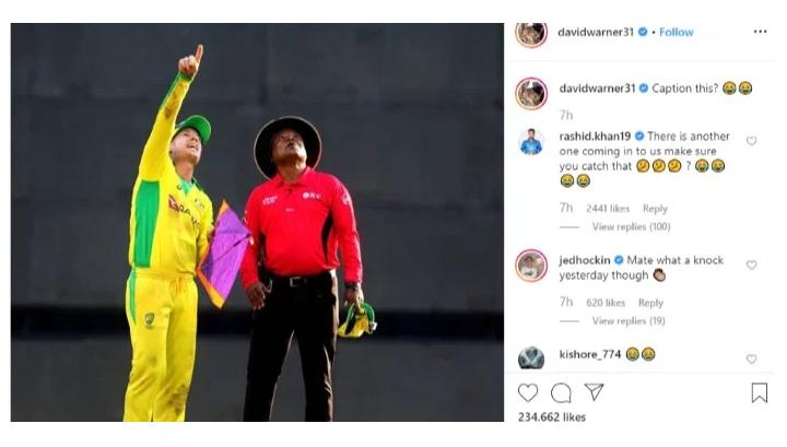 IND vs AUS- डेविड वार्नर के पतंग वाले नजारें को लेकर राशिद खान ने दिया ये मजेदार रिएक्शन 2
